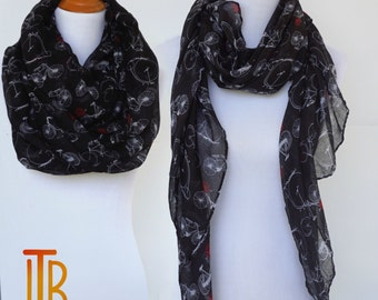 Bicycle Print Scarf, Black and White Woman Scarves, Red Flower Scarf, Fashion Loop Scarf, Women Fashion Accessories, Bridesmaid Gifts
