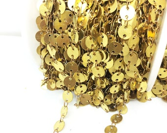 5 Yards Raw Brass Round Coins Beaded Chain Oval Linked By Hand 6mm Bead Sideways