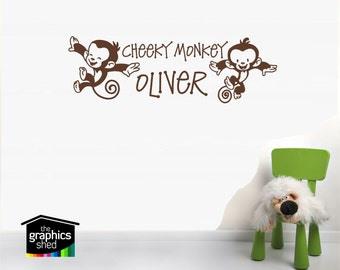 Cheeky Monkey personalised wall sticker