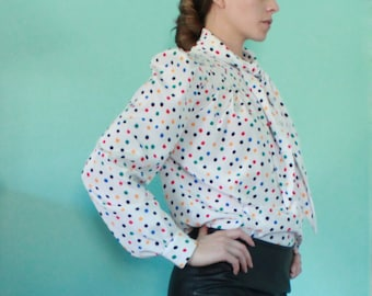Polka Dot 80's Blouse with Puff Sleeves