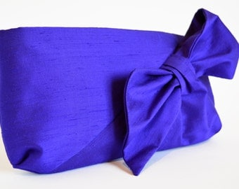 Purple Clutch bag, Silk Clutch bag, Clutch Purse, Bag with a Bow, Clutch bags