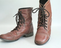 Womens Brown Leather Combat Boots Size 9
