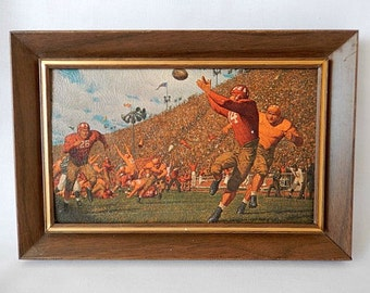 football art, History of College Football, 2 framed A. Fridberg print reproductions, 1970s, wall hangings, man cave, gift for him