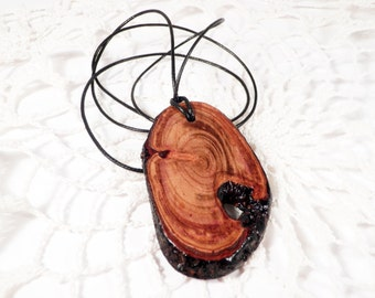 Simple wood pendant, burned plum tree necklace, Burnt look pendant, natural wood slice pendant