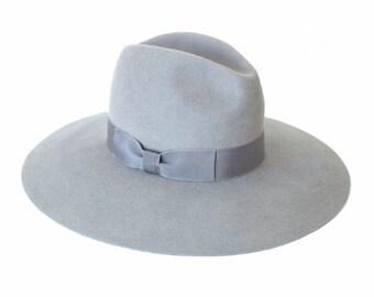 SALE!! Over 30% off - Wassail wide brim fur felt fedora - light grey