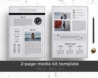 2 page media kit template ( floral background ) /  2 page professional press kit / modern media kit / elegant media kit/ blog press kit