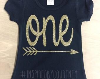 Birthday Onesie or Shirt Black & Gold / Silver