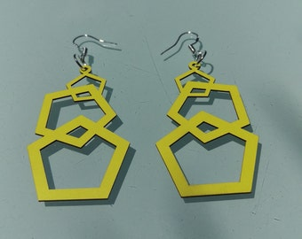 Neon Pentagon Earrings