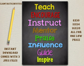 Classroom Decor, Teacher Decor, Eduacate, Inspire, Teach, Mentor, Instruct, Teacher Gift, Educational Decor, Classroom Decoration, School