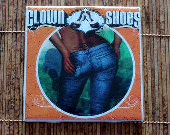 Clown Shoes Tramp Stamp IPA Craft Beer Coaster from UPcycled 4 pack holders. Beer Coasters. Beer Gifts. Craft Beer.