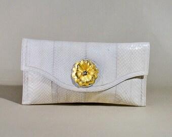Vintage Dano Belgium White Snake Skin Leather Bag, Clutch, Handbag, Evening Bag, Enveloppe Bag