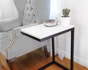 C-Shaped Steel End Table
