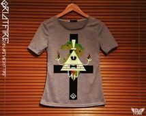 Ladies Poison Bill Cipher Gravity Falls on Grey T-shirt | Super Premium High Quality | Hand Printed | Vivid Pigment Ink & Plastisol