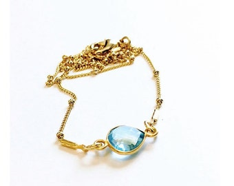 Blue Topaz and Gold Chain Necklace