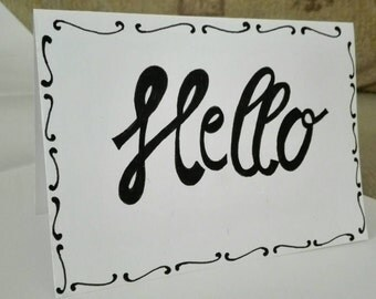 Hello greeting card. High quality paper.