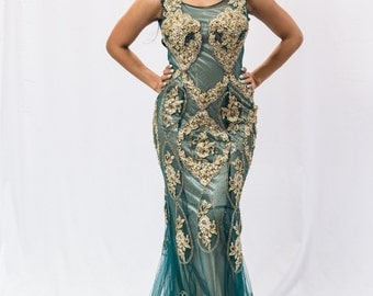 Teal and Gold Prom Dress Gown