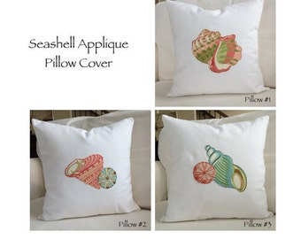Seashell Pillow, Applique Pillow Cushion Cover Coastal Beach Throw Pillow Blue Green Coral Ocean Decor Decorative Zippered Accent Pillow