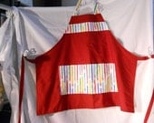 Artist. Teacher apron, red with pencil fabric, unisex style , one size fits all