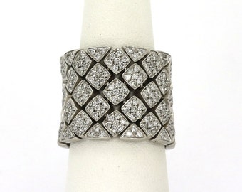18k Designer Diamond Ring Band Pierro Milano Gold 2.5 cts. Ladies Wide Flex