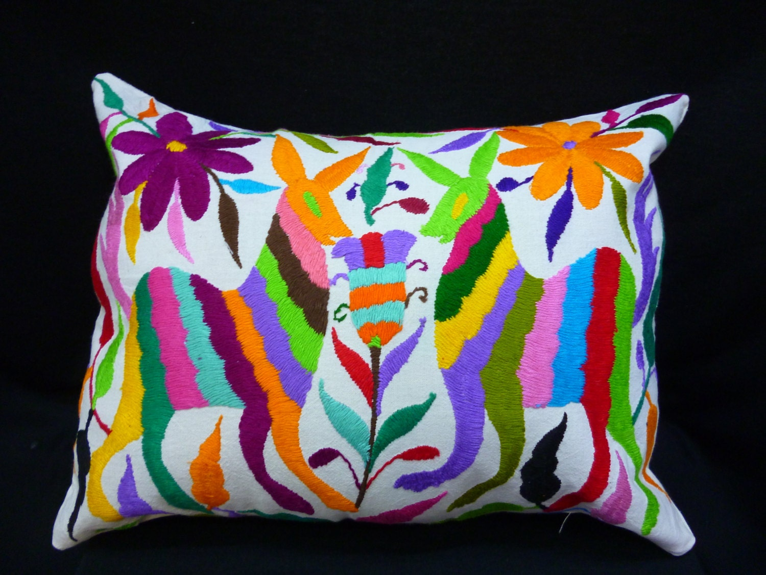 Throw pillow cover mexican embroidered case otomi