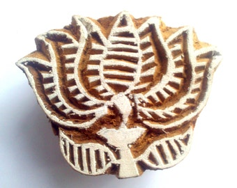 Lotus Flower Stamp Hand Carved Indian Block printing boho hippie yoga pants design buddism print