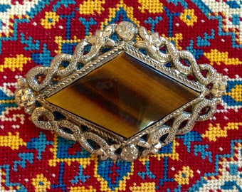 Antique Chinese Repousse Tiger's Eye Brooch