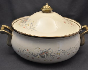 Lincoware Happy Geese Enameled Casserole Dish with Lid Rare