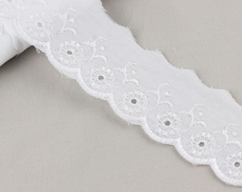 5 Metres x Broderie Anglais Lace Trim 50mm [Lace Ref 204729]