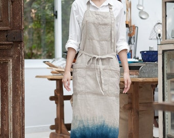 Linen Pinafore apron  | Linen Apron  | Japanese Apron  | Washed long Apron  |  No. 0927