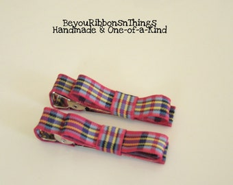 Plaid Pink Hair Clips for Girls Toddler Barrette Kids Hair Accessories No Slip Grip