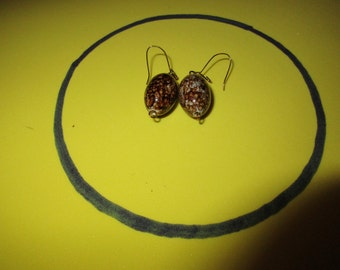 Shiny Brown and White dangle earrings