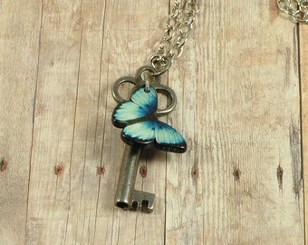 Vintage Skeleton Key Necklace-Butterfly Key Necklace-Skeleton Key-Key Necklace-Skeleton Key Necklace