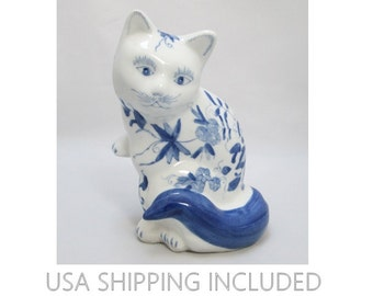 Chinese Flowered Cat Charming Blue and White 8 Inch Figurine