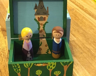 Disney Tangled Hand Painted Peg Set with Rapunzel Tower Box