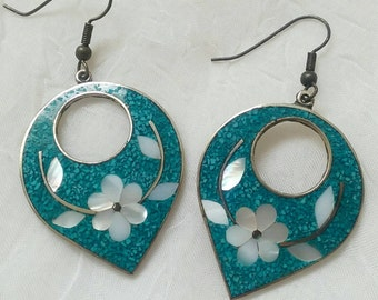 Turquoise Tear Drop Cloisonne Earrings