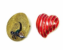 vintage MFA brooch set of two enamel gold tone sun hat and heart pins museum of fine arts
