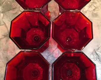 Independence Crystal Company Amberina Red Octogonal Water Glasses, Set of Six