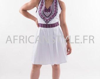 Robe plissé blanc wax Addis-Abeba violet