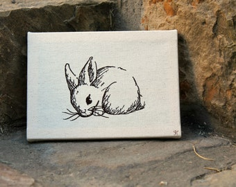 Embroidered Fine Art Bunny Rabbit