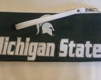 Michigan state, wristlet, makeup bag