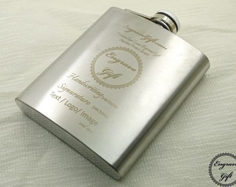 Custom Personalized 7oz Steel Flask Wedding Favor , Your Handwriting, Text, Logo
