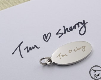 Oval KeyRing Charms Tag Custom Made Actual Handwriting, Real Hand Signature,autograph, Drawing Replica, Text Laser Engraved