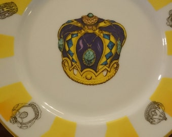 Neiman Marcus Crown Plates/Made in Japan/Decorated in California/Dessert Salad Plates/Jewels/Glamour