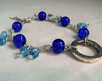 Sky blue/ Royal blue/ Purple beaded peace charm bracelet