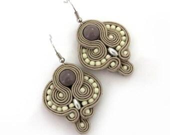 Beige Earrings ecru taupe earrings soutache Earrings beige chandelier earrings beige retro earrings orecchini beige