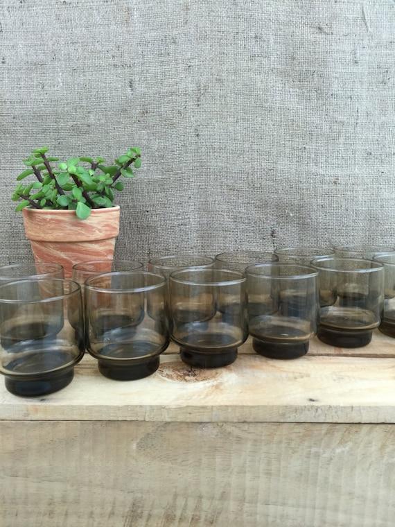 Vintage Libbey Tawny Accent Drinking Glasses Set of 12 - Smokey Old Retro 70s Glass Tumblers / Mod Retro Barware