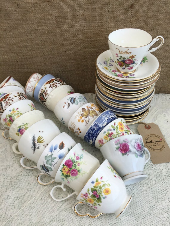 Job Lot 40 Pieces Vintage China - 20 Mismatch China Tea Cups and Saucers for Weddings & Events / Mix and Match China Tea Cups and Saucers