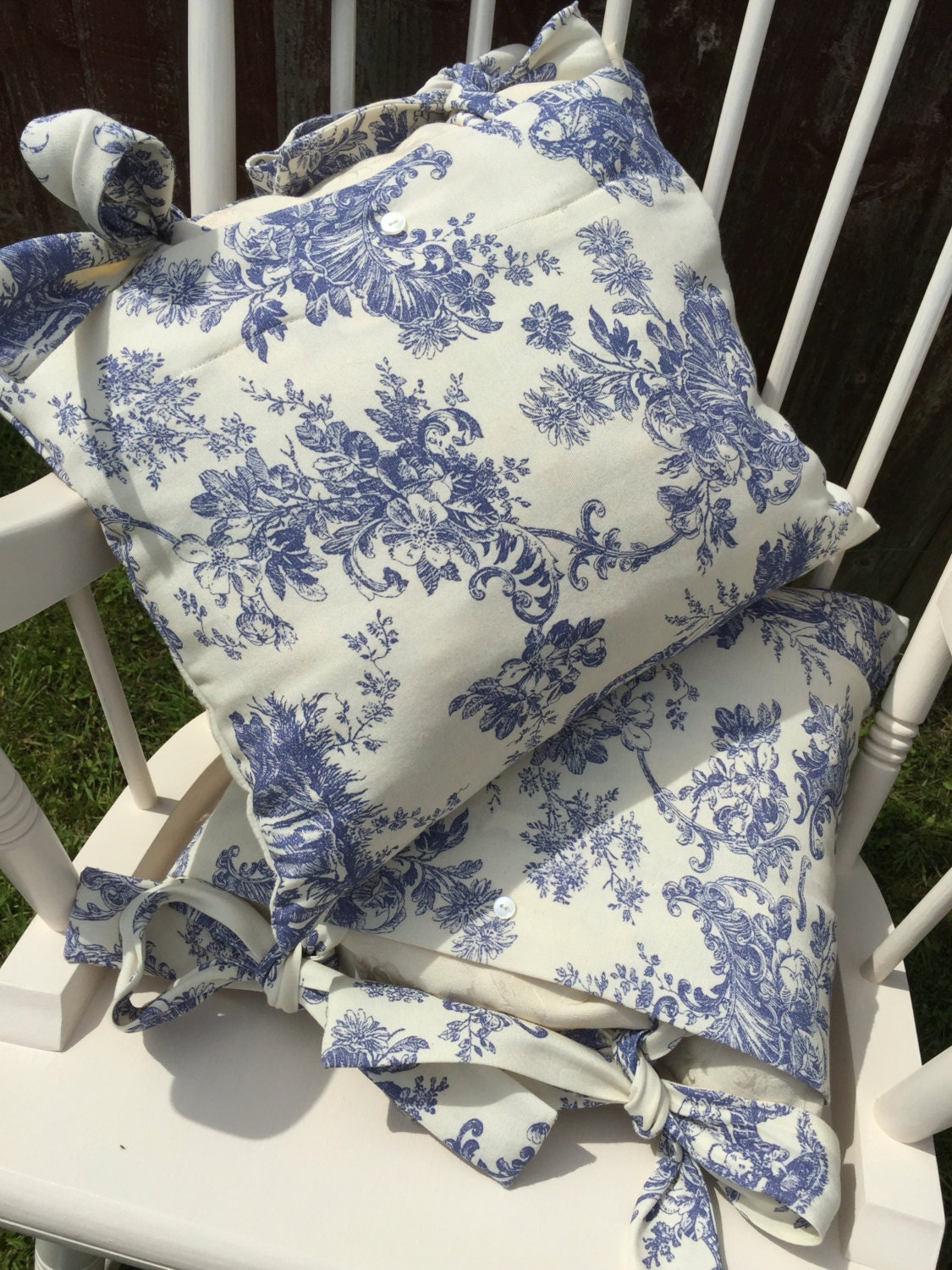 Toile De Jouy Blue And Cream Cushions Regency Toile