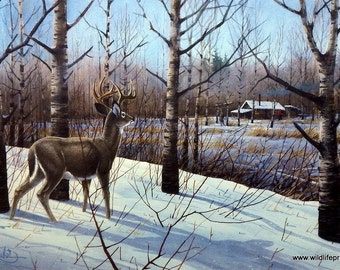 Les Kouba Deer Camp HuntIng Print Open Edition.