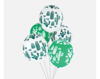 Cactus print latex balloons.  Set of 5.  Cacti balloon.  Cactus balloons.  Desert party balloons. Fiesta party decor.  Desert party decor.